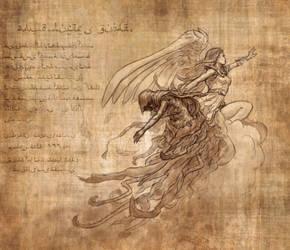 Angel/Demon: Adventurer's Journal Twitch Drawing by drbjrart