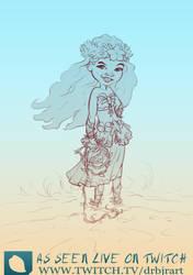 WonderWoman - Hawaiian Girl Drawing by drbjrart