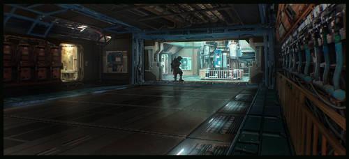 sci-fi corridor by guchi
