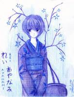 NGE- Rei Ayanami in Kimono by mingming07