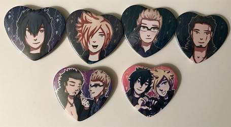 Final Fantasy XV Heart Buttons by eastdownpour