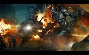 Mech Battle by Jessada-Art