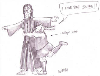 Glomping Snape by Eliza-the-artist
