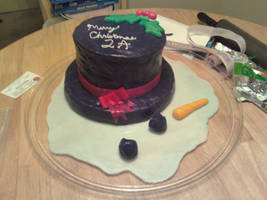 Melted Snowman cake by Lioness123