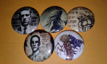 H.P. Lovecraft Pin-On Punk Buttons by MrCadavero