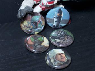 Star Wars Bounty Hunter Pin-On Punk Buttons (5x) by MrCadavero