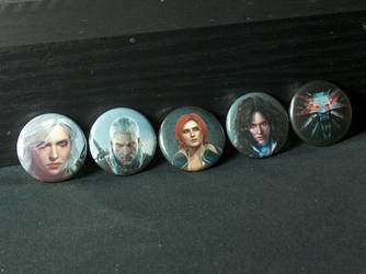 The Witcher Pin-On Punk Buttons - Set of 5 by MrCadavero