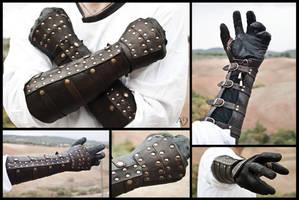 Dark Brown Rawhide Gauntlets by Adhras
