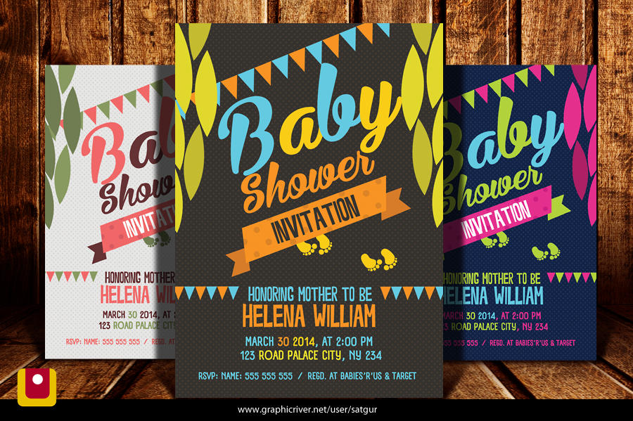 Baby Shower Invitation Template PSD By Satgur