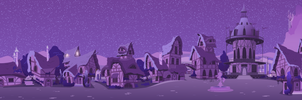 Ponyville Street to Town Center (Night) by Foxy-Noxy