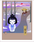 Yuki Onna - kokeshi by broom-rider