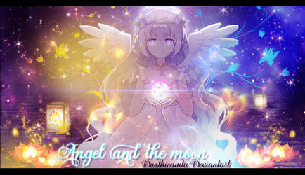 {Signature - Wallpaper - Baner} Angel and the moon by DaoThiCamTu