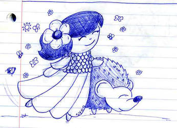Flower Girl Doodle 20091026 by dashersher