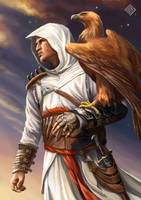 Altair portrait with golden eagle by MiryAnne