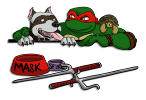 Mask Raph and Spike header n footer by Teratophelia