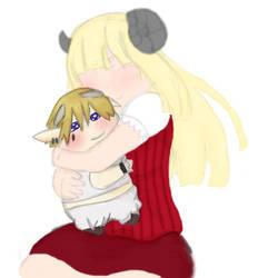 Hugging by cream-bunny156