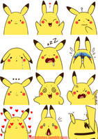 Pikachu Expressions by Zayger