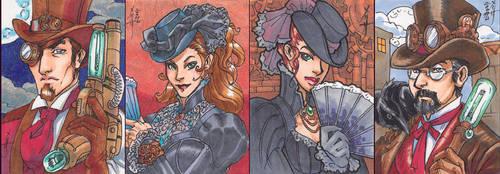 Victoriana sketch cards by MelUran
