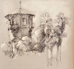 tower with palmtrees by LaughtonMcCry