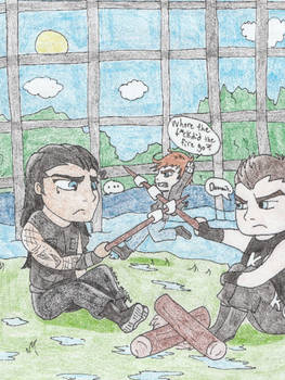 Camp WWE- Roman and Kevin want S'mores! by Jinxproxy