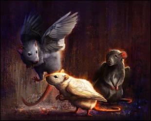 Blue Jay, Puck, and Arrow by TamberElla