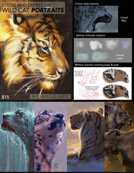 Loose and Expressive Wild Cat Portraits by TamberElla