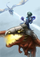 World of Warcraft: Drakechase by pinali