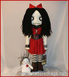 Creepy rag doll with voodoo dolly by Zosomoto