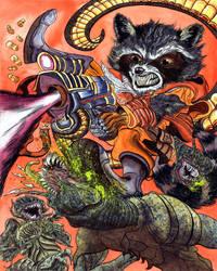 Rocket Raccoon - Elephant Gun by davidgil-illustrator