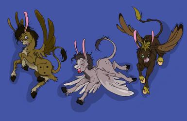 Three Flying Donkeys by TheMushman
