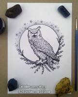 Inktober 03, Owl by wasteddreams
