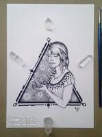 Inktober 04, Crystal Awakening by wasteddreams