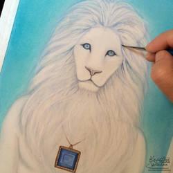 Work in progress- White lion spirit guide by wasteddreams