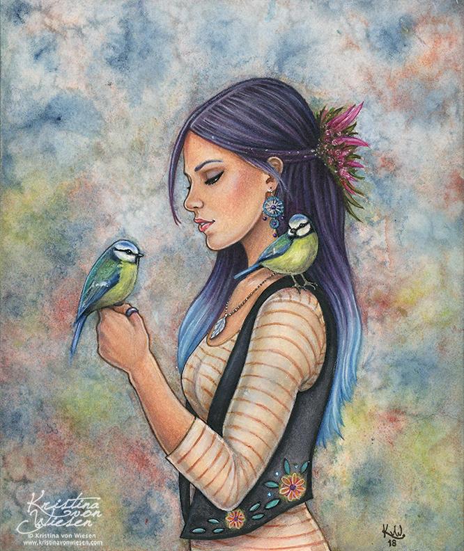 Girl with Birds by wasteddreams