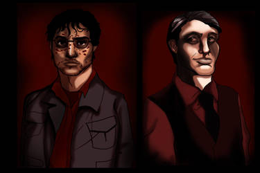 Hannibal series: Will Graham and Hannibal Lecter by Amaliavs