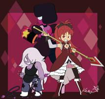 Garnet, Amethyst and...Kyoko!?! by TheMundanePanda