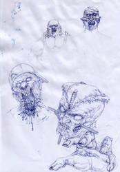 Sketches of zombie faces by MilenKalachev