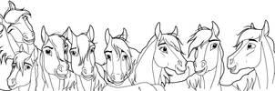 Eight Happy Horses --Lineart by kokamo77