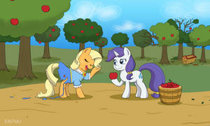 Applejack and Rarity Switching by Empyu
