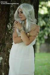 Stock woman in white dress 04 by clair0bscur