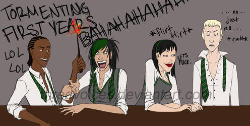 HP-breakfast tables-slytherin by threevoices