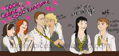 HP-breakfast tables-hufflepuff by threevoices