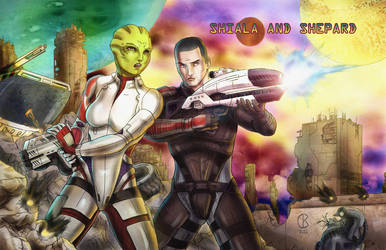 Shiala and Shepard by shrouded-artist