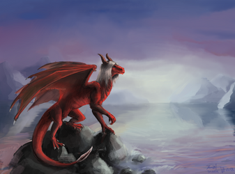Red demon dragon chilling at a lake by Drangir