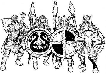 Brutal Viking Shield Wall by Thewog