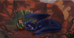 hiccup training toothless by Miu3