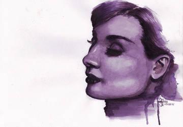 Audrey Hepburn [Monochrome] by PitchBlack-Ixhieen