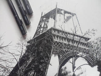Eiffel Tower (Pointillism) by PitchBlack-Ixhieen