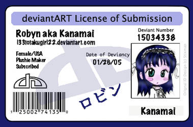 Kanamai's DA License by l33totakugirl22