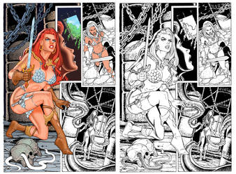 Coloring Red Sonja by Tarzman